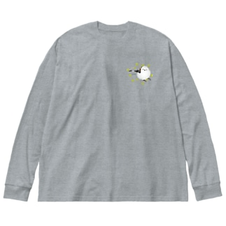 シマエナガさん Big silhouette long sleeve T-shirts