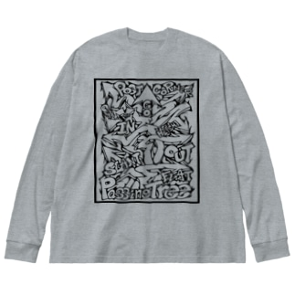 Passing Tree 透過・黒線 Big silhouette long sleeve T-shirts