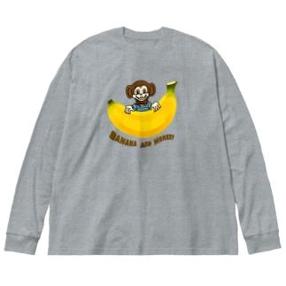 バナナ&モンキー Big silhouette long sleeve T-shirts