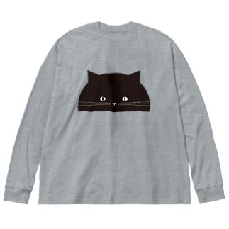 のぞき見ねこ Big silhouette long sleeve T-shirts