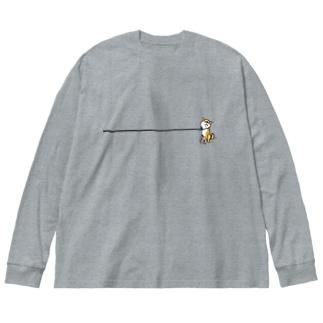 イヤイヤ柴犬(赤柴) Big silhouette long sleeve T-shirts