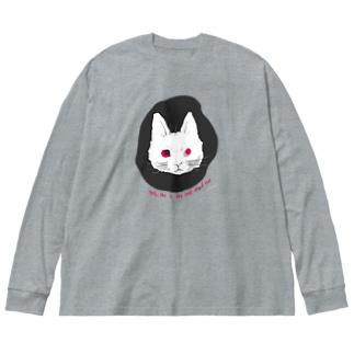 mya-mya=MIYA JUNKO's shop 02のodd-eyed cat Big silhouette long sleeve T-shirts