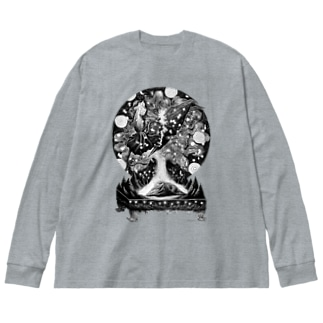 マッコウクジラVSダイオウイカ a Big silhouette long sleeve T-shirts