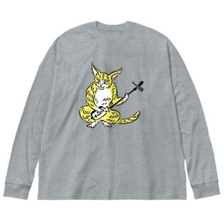 大津絵・猫に三味線 Big silhouette long sleeve T-shirts
