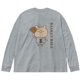 バスケットボールクマ Big silhouette long sleeve T-shirts