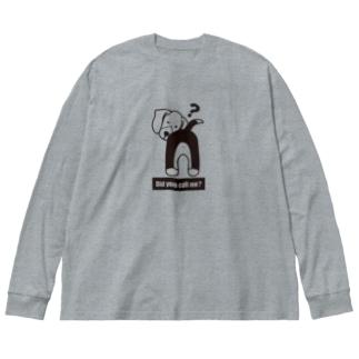 振り返り呼んだ?ビーグル 口周り白タイプ Big silhouette long sleeve T-shirts