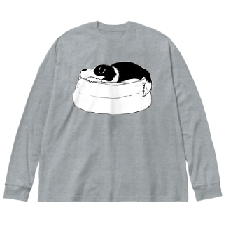 寝るルーカスくん Big silhouette long sleeve T-shirts