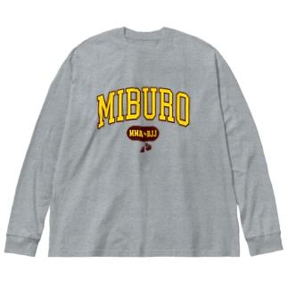 カレッジ2  イエロー×ワインレッド Big silhouette long sleeve T-shirts