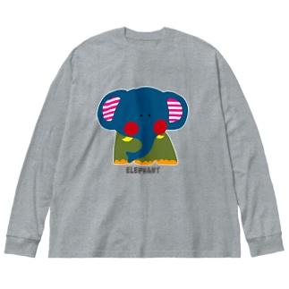 エレファント Big silhouette long sleeve T-shirts