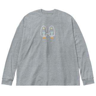 おばけちゃんシスターズ(白フチ/orange) Big silhouette long sleeve T-shirts