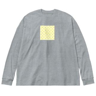 クマバチと水玉 Big silhouette long sleeve T-shirts