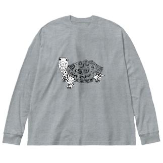ダイヤモンドバックテラピン 白肌 Big silhouette long sleeve T-shirts