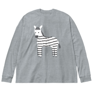 しまうま Big silhouette long sleeve T-shirts