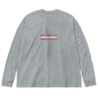 nekorules_red Big silhouette long sleeve T-shirts
