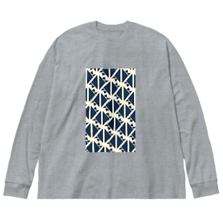 サーヴィエ行進曲 藍 Big silhouette long sleeve T-shirts