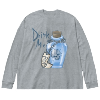 DrinkMeスカル2 Big silhouette long sleeve T-shirts