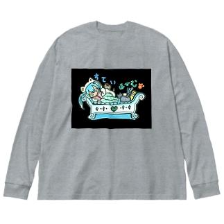 両面プリント✨mikuと愛猫💙STAY HOMEとおうち時間 Big Silhouette Long Sleeve T-Shirt