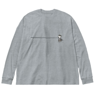 イヤイヤ柴犬(黒柴) Big silhouette long sleeve T-shirts