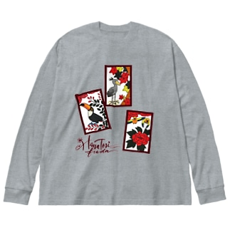はなとり猪鹿蝶(両面) Big silhouette long sleeve T-shirts