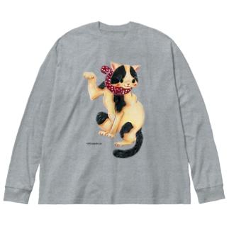 招き猫 Big silhouette long sleeve T-shirts