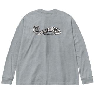 タコ触手 Big silhouette long sleeve T-shirts