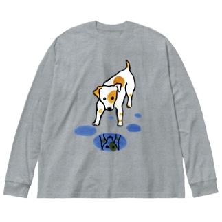 水たまりと犬さん Big silhouette long sleeve T-shirts