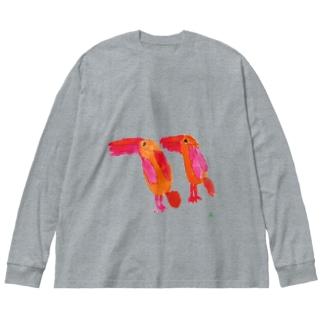 天才アートKYOTO 長村駿_1 アカショウビン Big silhouette long sleeve T-shirts
