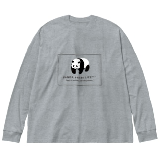 のしのしパンダ スクエア Big silhouette long sleeve T-shirts