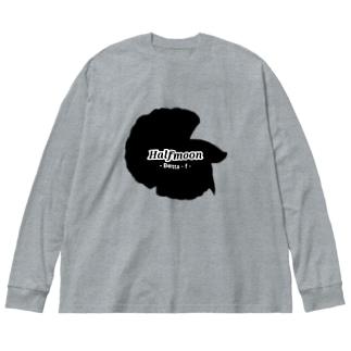 Halfmoon Betta②Black 背面 Big silhouette long sleeve T-shirts