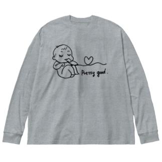 とっても元気です Big silhouette long sleeve T-shirts