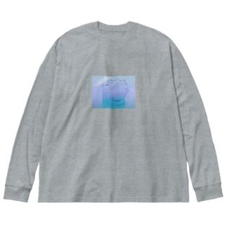水と詩 Big silhouette long sleeve T-shirts