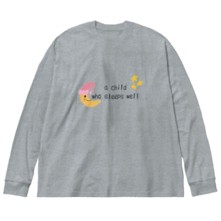 よく寝る子 Big silhouette long sleeve T-shirts