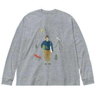 fig-tree_SUZURI▲の星空、見に行こ! Big silhouette long sleeve T-shirts