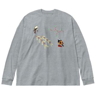 ウメモドキ×ジョビ男&コムラサキ&ジョビ子 Big silhouette long sleeve T-shirts