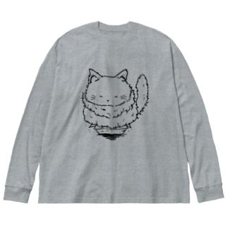 ギリギリキャット Big silhouette long sleeve T-shirts