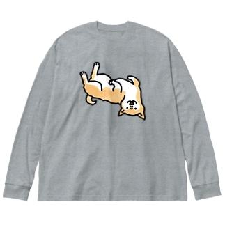 ころーん柴犬くん Big silhouette long sleeve T-shirts