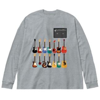 ギターとアンプ Big silhouette long sleeve T-shirts