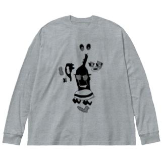 疑惑の影 Big silhouette long sleeve T-shirts