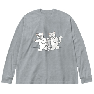 散歩するにゃーん Big silhouette long sleeve T-shirts