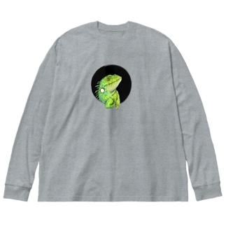 グリーンイグアナ Big silhouette long sleeve T-shirts
