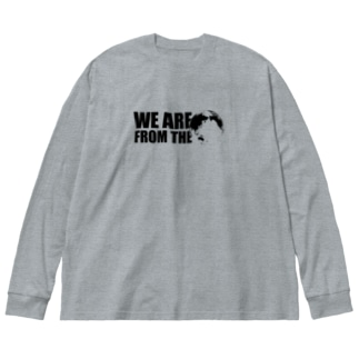 我々ハ地球人ダ Big silhouette long sleeve T-shirts
