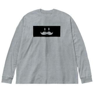 ヒゲ(黒帯)透過大 Big silhouette long sleeve T-shirts