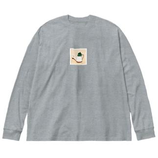 多肉ちゃん Big silhouette long sleeve T-shirts