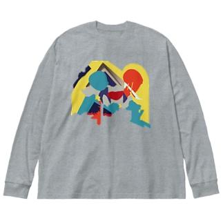 鏡像魔神1 Big silhouette long sleeve T-shirts