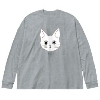 ねここ surprised Big silhouette long sleeve T-shirts