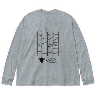 くもあみだくじ Big silhouette long sleeve T-shirts