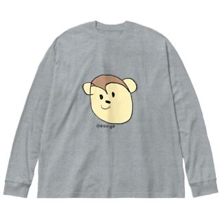 おさるさんの服とコップ Big silhouette long sleeve T-shirts