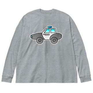 警察車両 Police Car Big silhouette long sleeve T-shirts