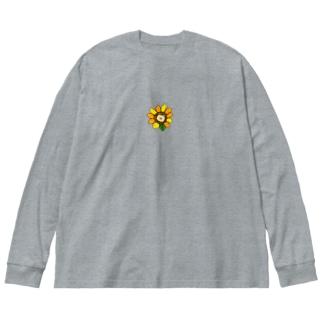 ひまわり柴犬 Big silhouette long sleeve T-shirts