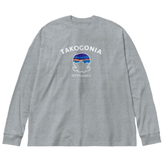 TAKOGONIAホワイト Big Silhouette Long Sleeve T-Shirt